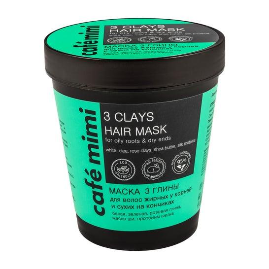 Masque capillaire Café Mimi 3 argiles pour racines grasses et pointes sèches 220ml